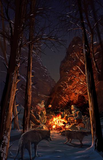 concept art  environment snow campfire