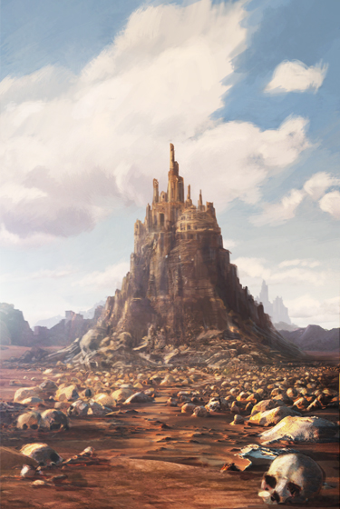 concept art  environment desert castle skull