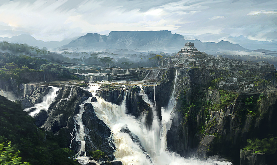 conceptart landscape waterfall